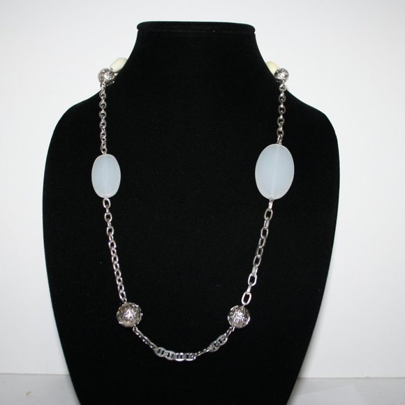 """Long silver and opalite necklace 36"""""""